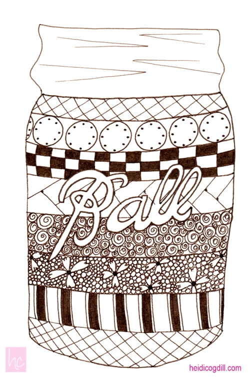 Completed Doodle of Ball Jar by Heidi Cogdill