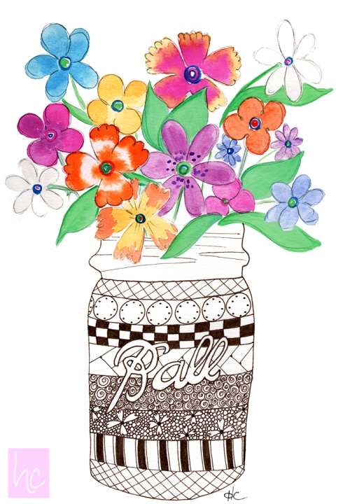 Ball Jar Doodle with Watercolor Flowers by Heidi Cogdill
