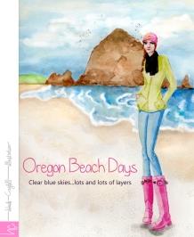 Oregon Beach Day Watercolor by Heidi Cogdill